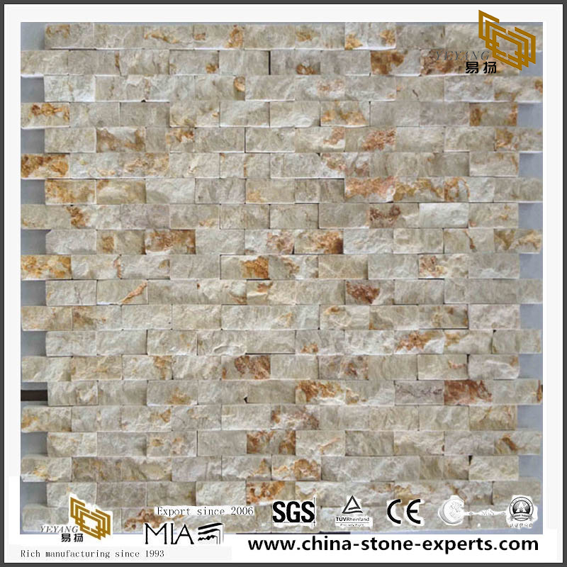 Mosaic Wall Tile Beige Marble Mosaic Rough Natural Stone Surface
