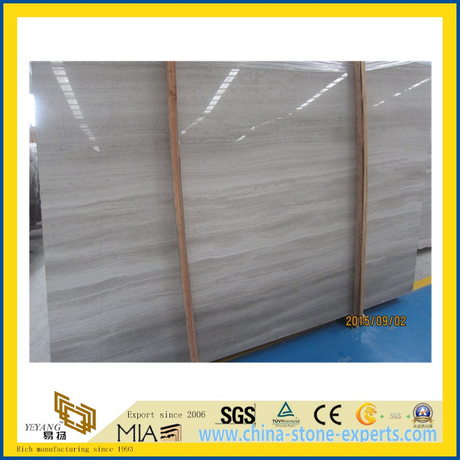 Polished White Wooden Grain Marble for Kitchen/Bathroom Wall & Floor Tiles