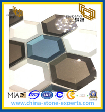 Edged Hexagonal Pattern Tile Glass Mosaic Tile New Colorful