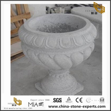 Dark grey Granite Flower Vase Factory Supply Polished Stone
