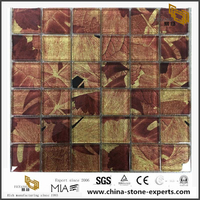 Color Maple Leaf Laminated Glass Mosaic Tile Hot Sale Natural