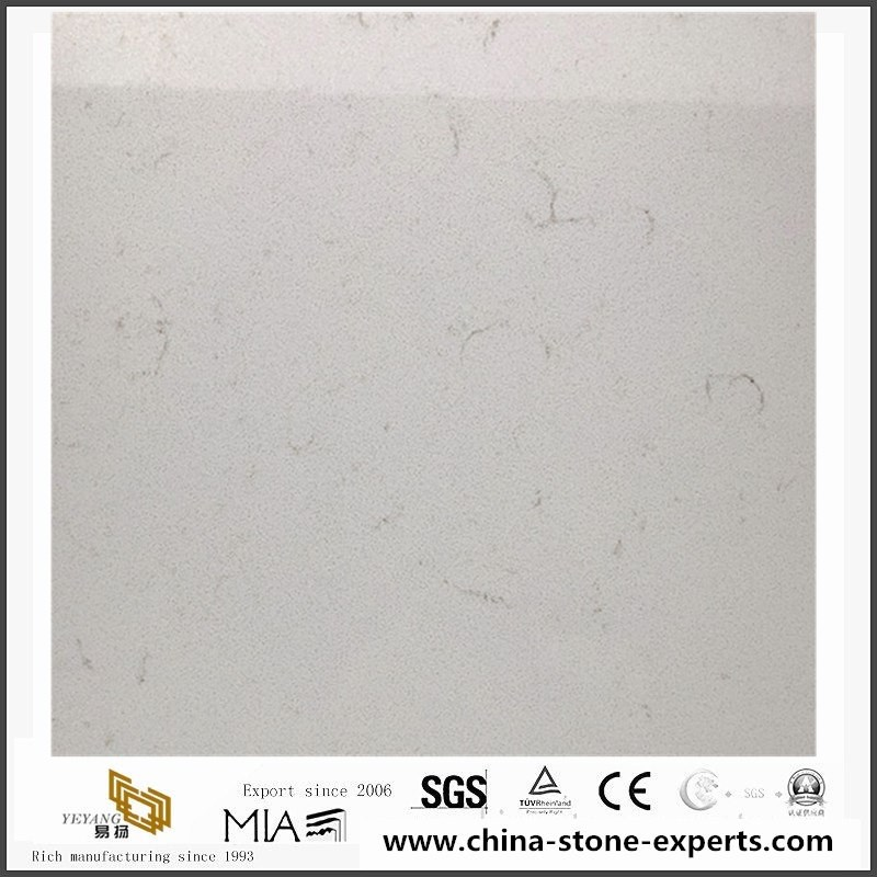 002Carrara white Quartz Kitchen Countertops