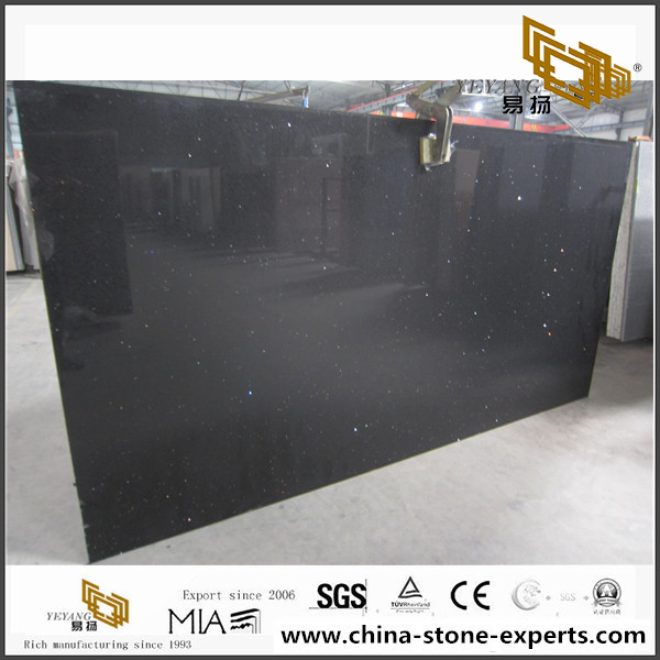 Prefab Sparkle Black Quartz Countertop for Project