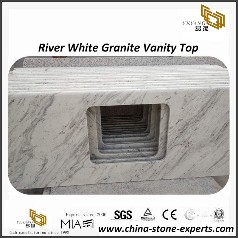Amazing River White granite bathroom vanity top for residential project