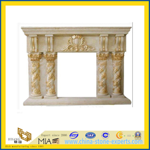Antique Cararra and Botticino Beige Marble Travertine Stone Fireplace(YQA)