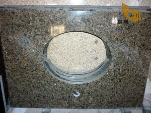 Tropical Brown Granite Bathroom Vanity Tops for Hotel Decor (YQW-11023C)