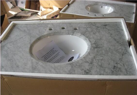 White Carrara Marble Bathroom vanity tops 02