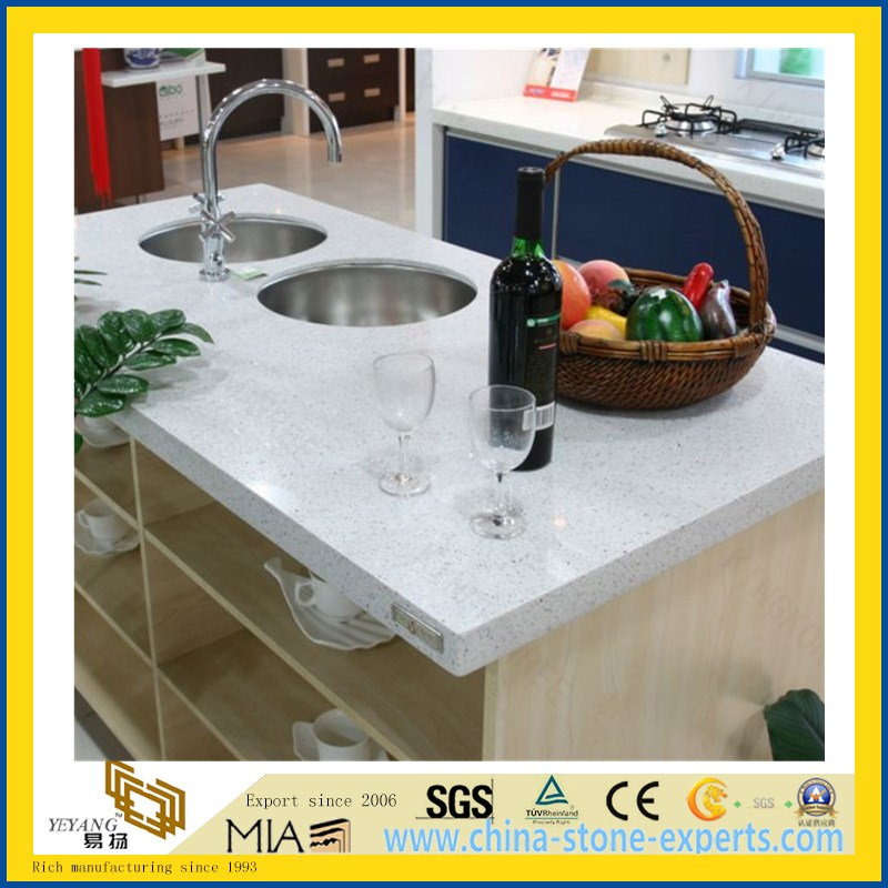 CE Custom Size Artificial Quartz Stone Kitchen Countertop with Sink(YQW-QC10001)