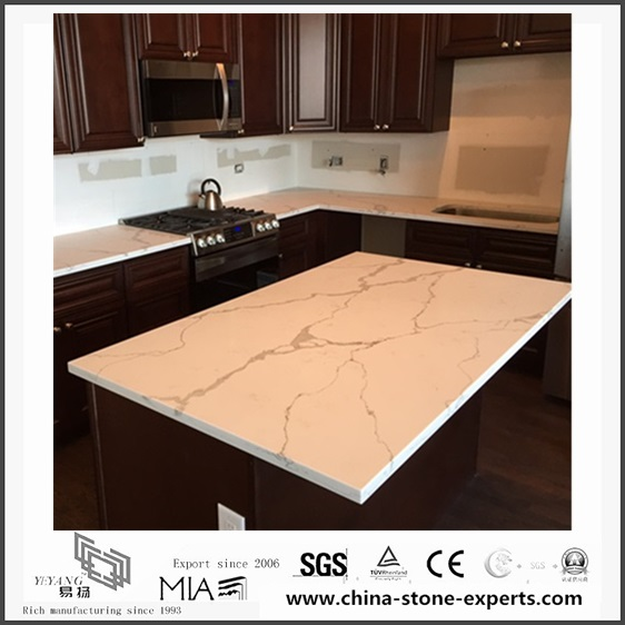 Custom White Calacatta Quartz Kitchen Countertops(YQW ...