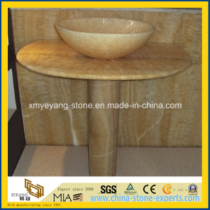 Yellow Onyx Pedestal Basin for Luxury Bathroom