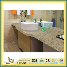 Cheap Custom Pine Nut Yellow Quartz Stone Bathroom Vanity Top