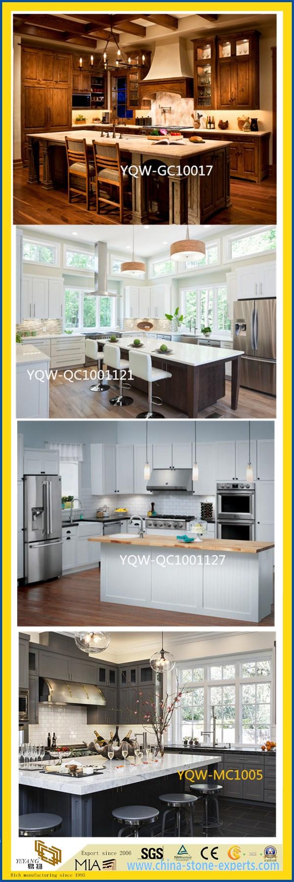 Pure White/Black/Yellow/Grey/Green Polished Artificial Quartz/Granite/Marble Stone Countertop for Kitchen/Bathroom/Hotel