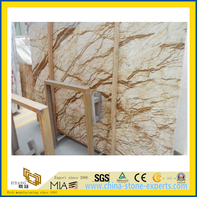 Polished Golden Sunset Marble Slab for Countertop/Vanity Top