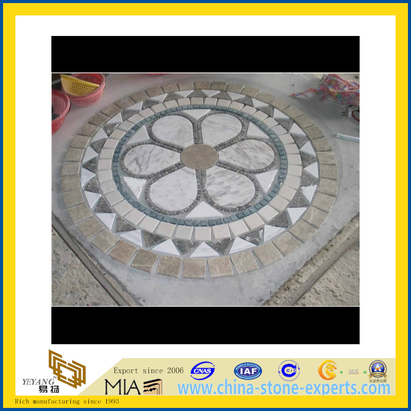 Design Marble Tile Mosaic Stone Medallion for Floor Decoration (YQZ-M)