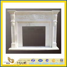 White Marble Fireplace Mantel for Interior Decorative(YQG-F1008)