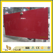 Crystal Red Polished Artificial Quartz Stone for Kitchen/Bathroom/School Wall