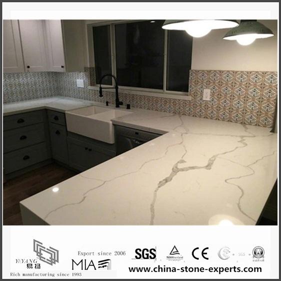 Genial Diy Prefab White Calacatta Quartz Kitchen Countertops(YQW QC0629014)