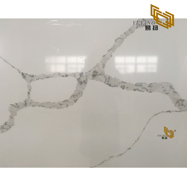 white aritificial calacatta quartz stone countertop customized factory wholesale (501C)
