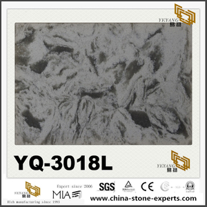 Grey Vein Polished Quartz YQ-3018L Slabs For Sale
