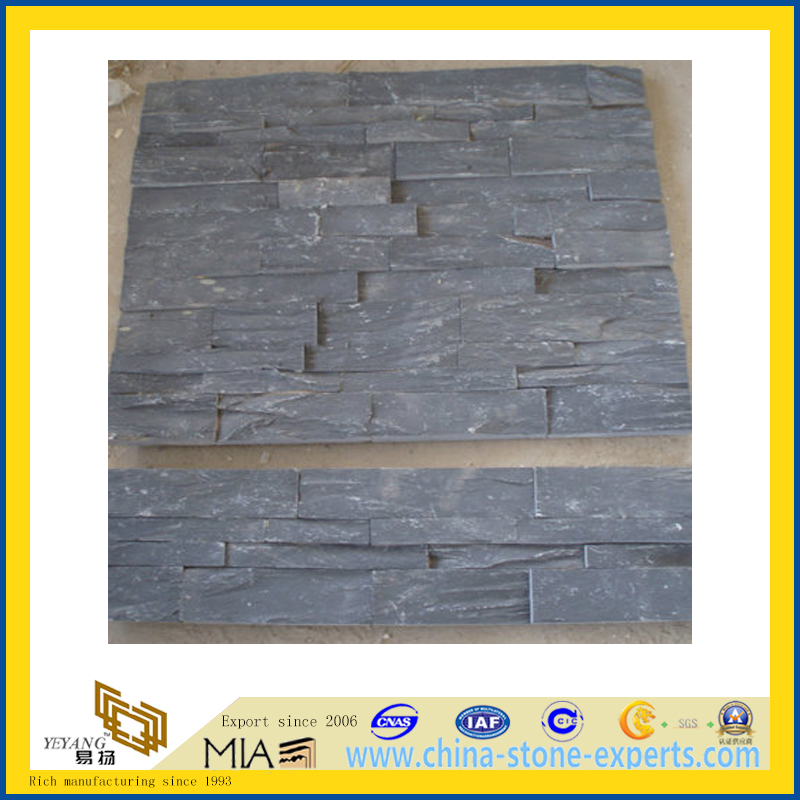 High Quality Black Cultural Stone for Wall Cladding (YQA-S1018)