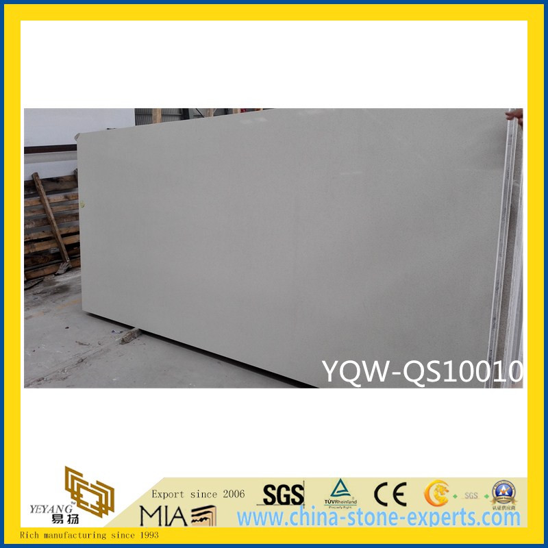 Beige Artificial Quartz Stone Slab for Home & Hotel Countertops/Tiles