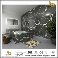 Calacatta Black Quartz Tile For Bathroom Wall