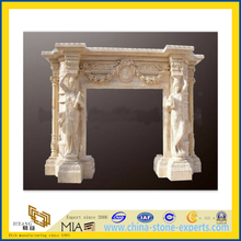 Sculpture Carving Beige Marble Fireplace (YQC)
