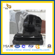 European Style Black Granite Tombstone, Monument, Headstone(YQG-CS1019)