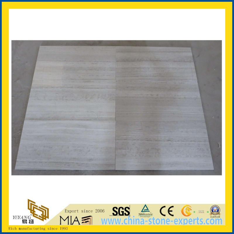 White Wood Grain Stone Marble for Kitchen/Bathroom Wall & Floor Tiles