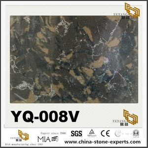 Quality Dark Brown Quartz Slab YQ-008V Series