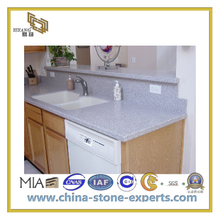 Polished Artificial Quartz Bathroom White Marble Vanity Top(YQC)
