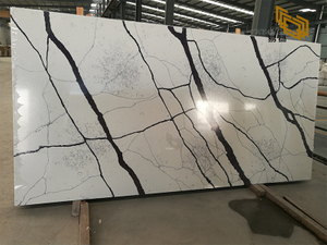 White calacatta quartz countertop factory custom-made kitchen vanity top(violet vein)