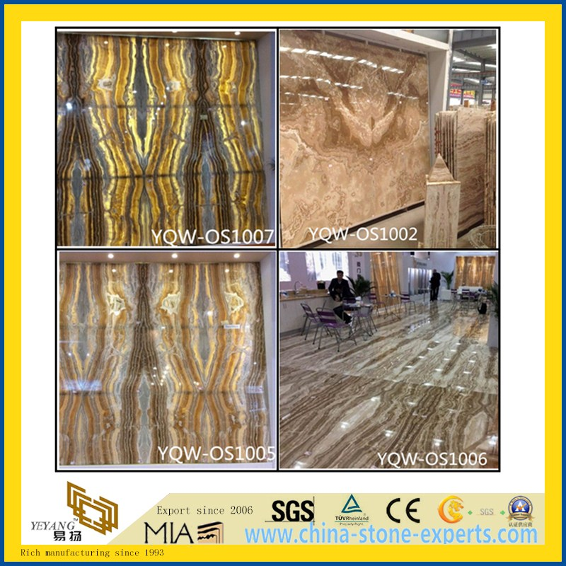 Colorful Translucent Tara Onyx Slabs for Floor, Wall, Countertop, Background