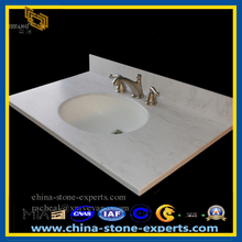 White Marble Bathroom Vnity Top with Sinks (YQZ-MC1001)