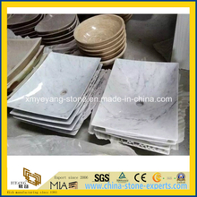 Guangxi White / Bianco Carrara White Marble Square Sink for Bathroom
