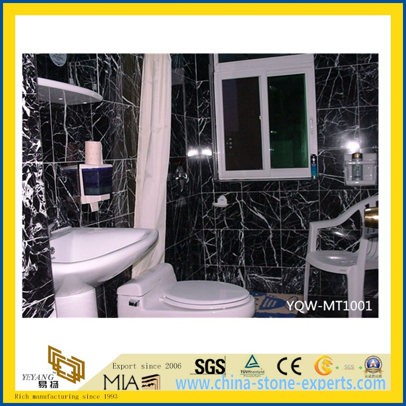 Polished Black Marquina Marble Tile for Flooring & Wall