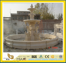 Beige Marble Stone Dolphin Water Fountain-Yya