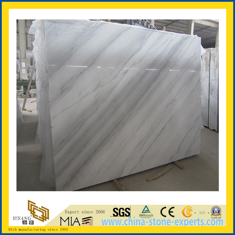 Polished Stone Guangxi White Marble Slabs for Countertop/Vanitytop (YQC)