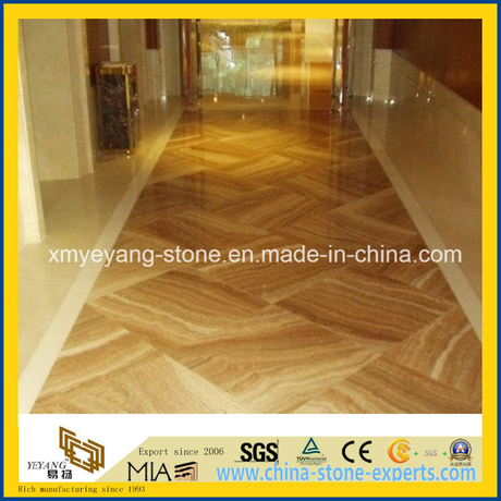 Yellow Wooden Grain Marble Floor Covering for Hotel