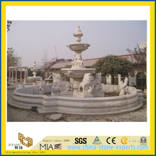 White Marble Stone Garden Water Fountain with Ladies and Lions