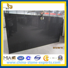 Crystal Black Quartz Stone Slab for Kitchen Countertop (YYAZ)