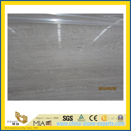 White Wooden Grain Marble Slab for Stone Flooring