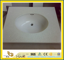 Prefab Sparkle White Quartz Bathroom Vanity Tops-YyM