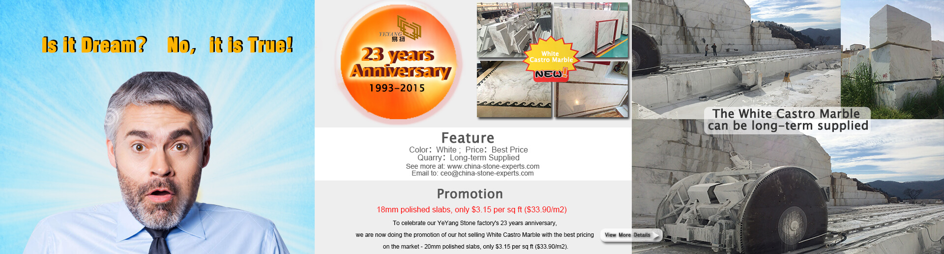 SGS-YeYang Stone factory's 23 years anniversary 18mm