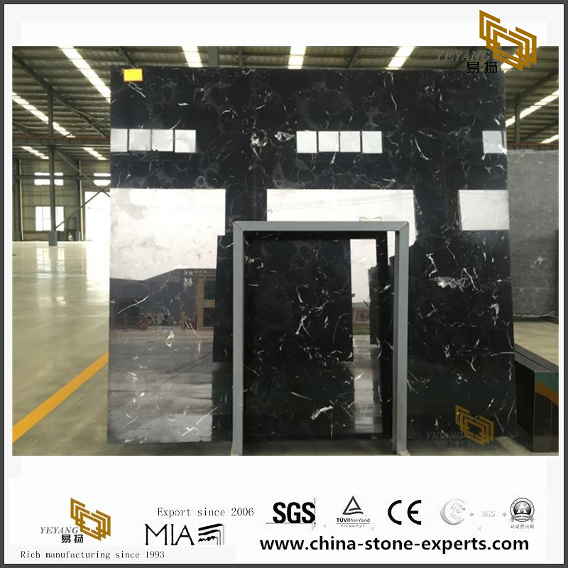New Discount Black Ice Flower Marble Slabs for Home Decor with cheap cost