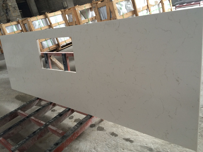 White Artificial Quartz Countertops for Kitchens & Barhroom(YQW-QC10012)