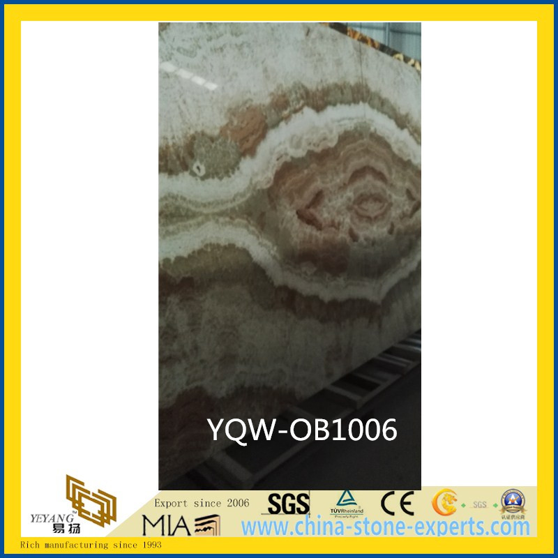 SGS White / Green / Yellow Polished Natural Stone Onyx for Background