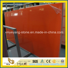 Dark Orange Artificial Quartz Stone Slab for Benchtop or Kitchentop