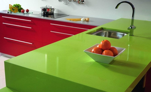 Eco Friendly Apple Green Quartz Dining Table Top