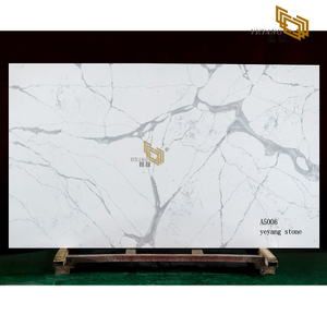Natural marble vein white artificial quartz slabs wholesale(A5006)